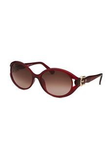 Fendi Women's Round Red Sunglasses Buckle Adornments