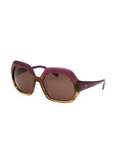 Fendi Women's Square Purple and Translucent Light Brown Sunglasses