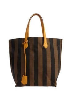 Fendi yellow leather and brown striped canvas tote