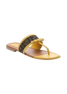 Fendi yellow leather and tobacco zucca canvas thong sandals