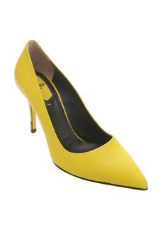 Fendi yellow leather 'Decollete' pointed toe stiletto pumps