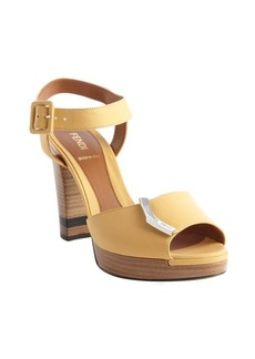 Fendi yellow leather 'Sanda O' sandals