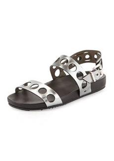 Metallic Banded Hole-Punch Sandal   Metallic Banded Hole-Punch Sandal