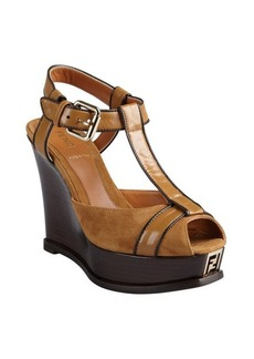 tobacco suede and leather 'Fendista' open toe platform sandals
