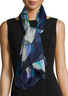 Grace-Print Silk Scarf, Blue   Grace-Print Silk Scarf, Blue