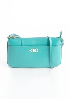 Salvatore Ferragamo aqua leather front pocket convertible clutch