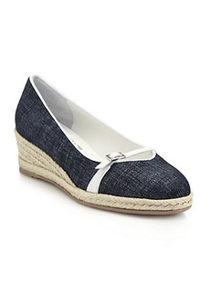 Salvatore Ferragamo Audrey Leather-Trimmed Chambray Espadrille Wedges