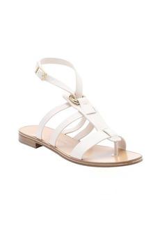 Salvatore Ferragamo beige leather 'Fiamma S' t-strap sandals