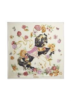 Salvatore Ferragamo beige pony printed silk scarf