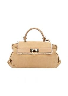 Salvatore Ferragamo beige suede shearling lined 'Sofia' satchel bag