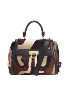 Salvatore Ferragamo black and brown calf hair convertible top handle bag