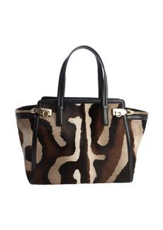 Salvatore Ferragamo black and brown calf hair zip detail shoulder bag