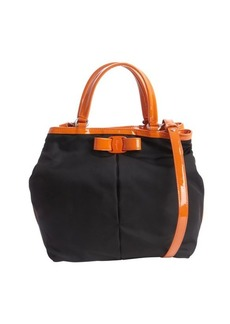 Salvatore Ferragamo black and orange nylon 'Ninette' convertible handbag