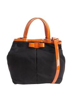 Salvatore Ferragamo black and orange nylon 'Ninette' convertible handbag