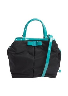 Salvatore Ferragamo black and teal nylon 'Ninette' convertible handbag