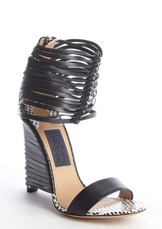 Salvatore Ferragamo black and white spotted snake embossed leather heel sandals