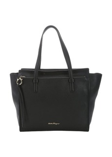 Salvatore Ferragamo black calfskin 'Amy' shopper tote