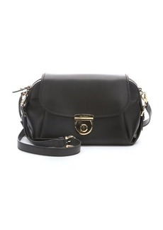 Salvatore Ferragamo black calfskin clasp detail shoulder bag