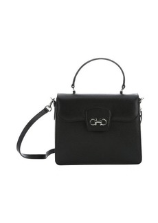 Salvatore Ferragamo black calfskin convertible 'Top Handle' bag