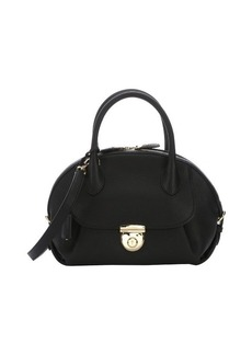 Salvatore Ferragamo black calfskin 'Fiamma' convertible top handle bag