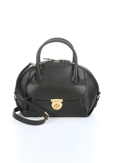 Salvatore Ferragamo black calfskin front pocket handbag