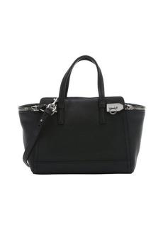 Salvatore Ferragamo black calfskin small 'Verve' zipper tote bag