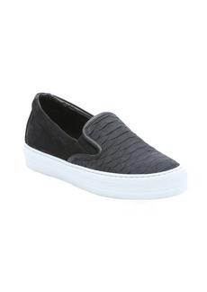 Salvatore Ferragamo black croc-embossed nubuck leather and suede 'Pacau' slip-on loafers