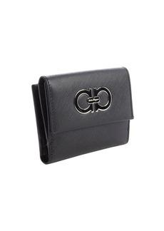 Salvatore Ferragamo black crosshatch leather french wallet