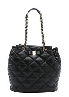 Salvatore Ferragamo black diamond quilted leather 'Genny' hobo bag