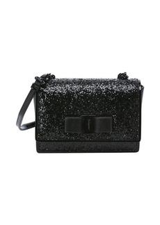 Salvatore Ferragamo black glittered patent leather mini 'Ginny' convertible shoulder bag