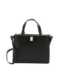 Salvatore Ferragamo black leather calfskin 'Tracy' convertible satchel
