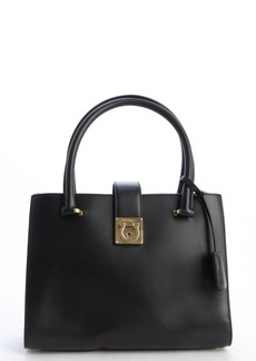 Salvatore Ferragamo black leather convertible top handle handbag