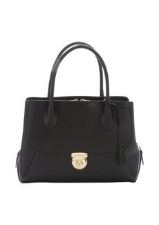 Salvatore Ferragamo black leather 'East/West Fiamma' tote bag