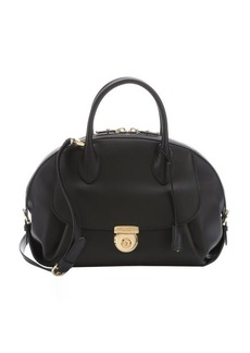Salvatore Ferragamo black leather 'Fiamma' large convertible satchel