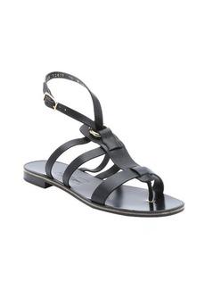 Salvatore Ferragamo black leather 'Fiamma S' t-strap sandals