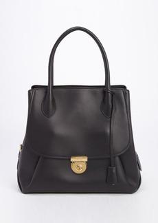 Salvatore Ferragamo black leather 'Fiamma' tailored tote