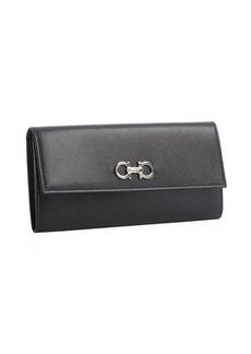 Salvatore Ferragamo black leather foldover continental wallet