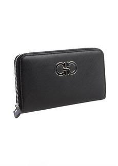 Salvatore Ferragamo black leather gancini zip continental wallet