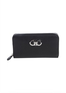 Salvatore Ferragamo black leather gancini zip wallet