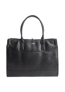 Salvatore Ferragamo black leather gancio accent top handle bag