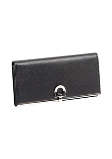 Salvatore Ferragamo black leather gancio clasp continental wallet
