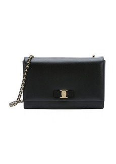 Salvatore Ferragamo black leather 'Ginny' chainlink satchel