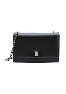 Salvatore Ferragamo black leather 'Ginny' chainlink satchel