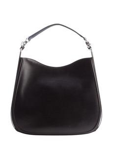 Salvatore Ferragamo black leather silvertone accent 'Kittie' shoulder bag
