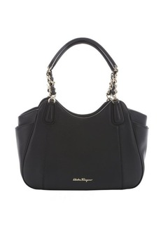 Salvatore Ferragamo black leather small 'Melinda' chain tote