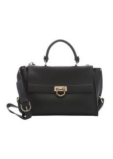 Salvatore Ferragamo black leather 'Sofia' large convertible satchel