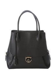Salvatore Ferragamo black leather structured tote bag