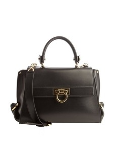 Salvatore Ferragamo black leather top handle bag