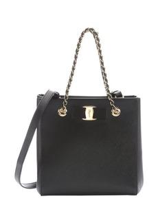 Salvatore Ferragamo black leather 'Vany' bow detail small shoulder bag