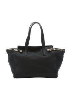 Salvatore Ferragamo black leather 'Verve' zip side top handle bag